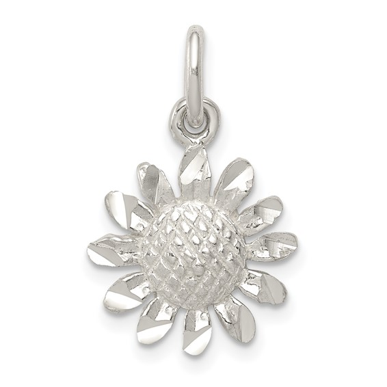 1/2in Floral Charm - Sterling Silver