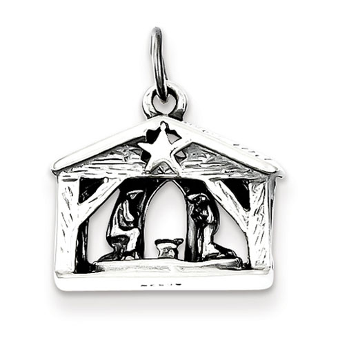 7/16in Antiqued Manger Charm - Sterling Silver