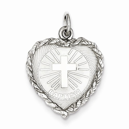 Sterling Silver 3/4in Heart Baptism Disc Charm