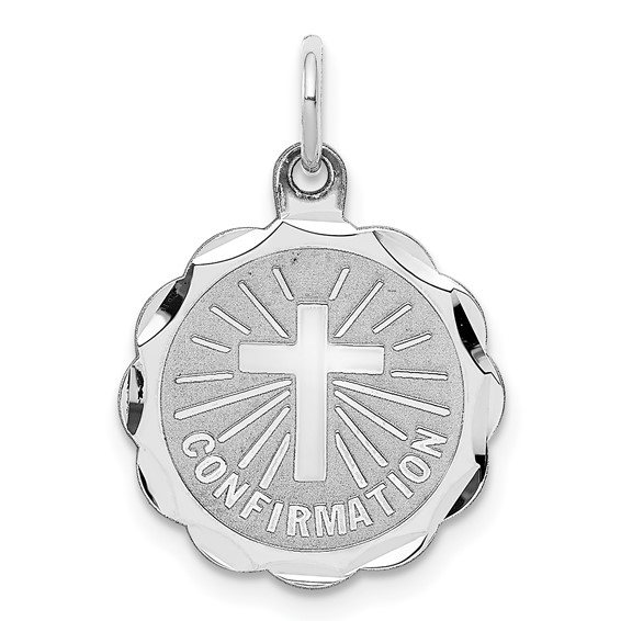 Confirmation Disc Charm 9/16in - Sterling Silver