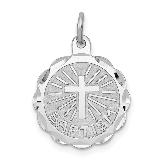 Sterling Silver 9/16in Baptism Disc Charm