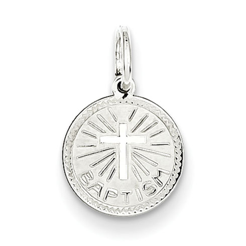 Sterling Silver Baptism Disc Charm 5/16in