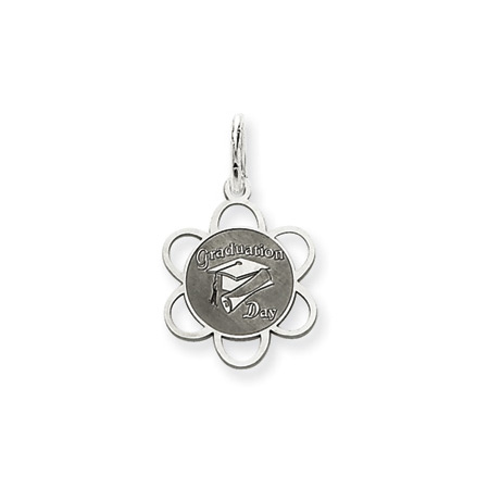 Sterling Silver 1/2in Graduation Day Charm with Scalloped Edges