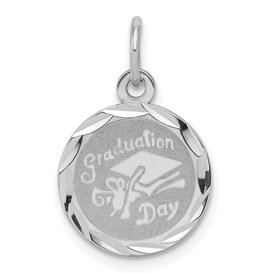 Sterling Silver 7/16in Engravable Graduation Day Charm