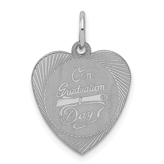 9/16in On Graduation Day Heart Charm - Sterling Silver
