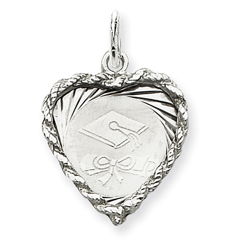 Sterling Silver 3/4in Graduation Cap & Diploma Heart Charm