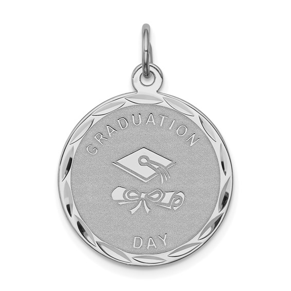3/4in Engravable Graduation Day Disc Charm - Sterling Silver