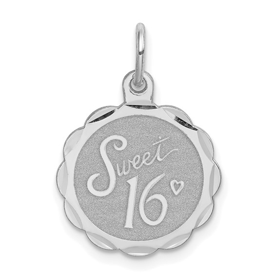 Sterling Silver 5/8in Sweet 16 Faceted Disc Charm