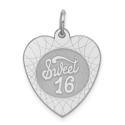 Sterling Silver Small Sweet 16 Heart Charm