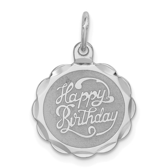 Sterling Silver Happy Birthday Charm with Scalloped Edges