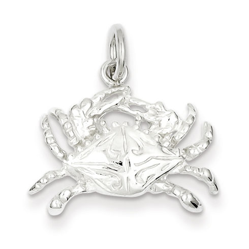 Sterling Silver 1/2in Crab Charm