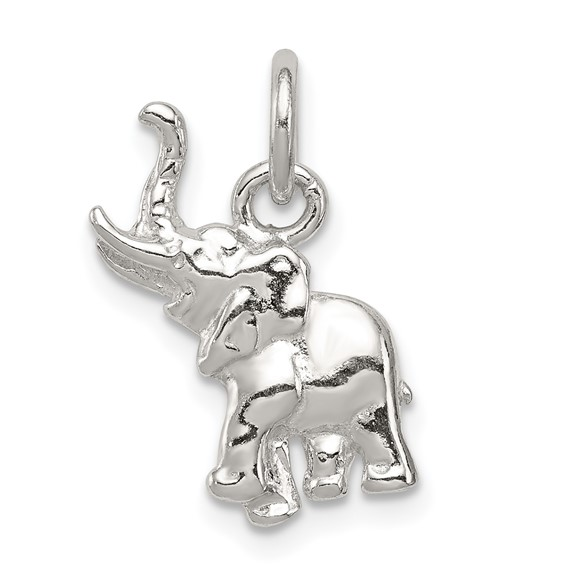 Sterling Silver 5/8in 3-D Elephant Charm