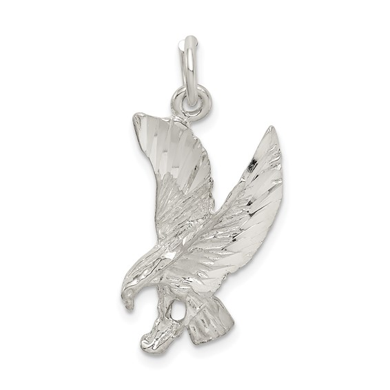 Sterling Silver 7/8in Diamond-cut Eagle Charm