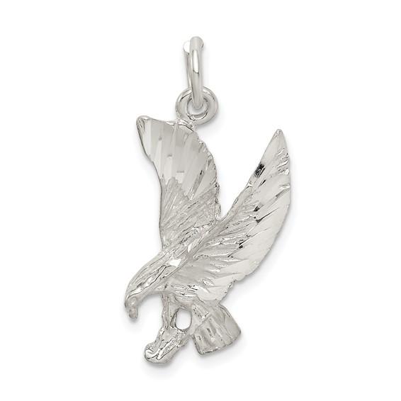 Sterling Silver 7/8in Diamond-cut Eagle Charm