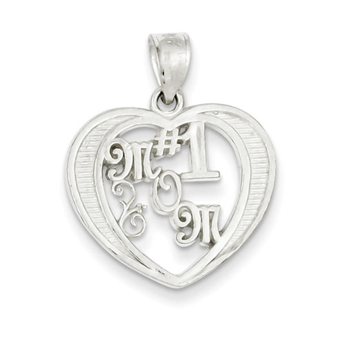 9/16in #1 Mom Charm -  Sterling Silver