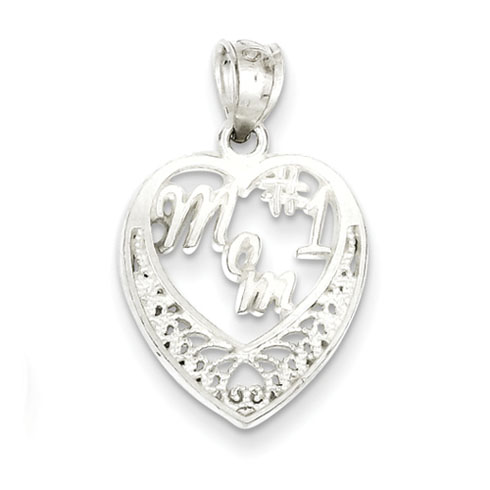 5/8in #1 Mom Charm - Sterling Silver