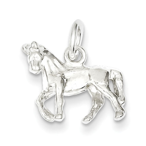 Sterling Silver 1/2in 3-D Trotting Horse Charm