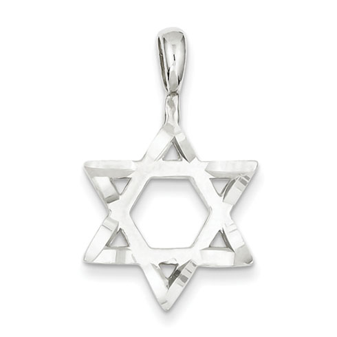 Sterling Silver Diamond-Cut Star Of David Pendant 3/4in
