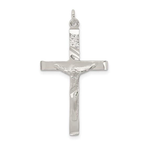 Sterling Silver 1 1/8in Diamond-cut Crucifix