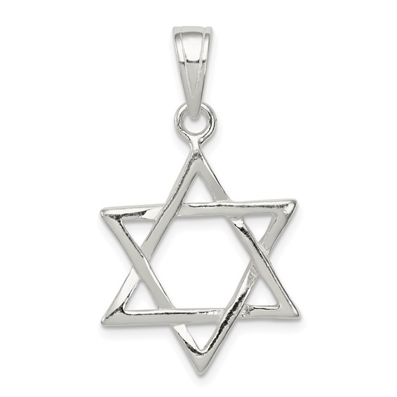 Sterling Silver 3/4in Polished Star Of David Charm