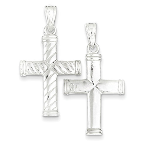 Sterling Silver 1in Reversible Ridged Cross