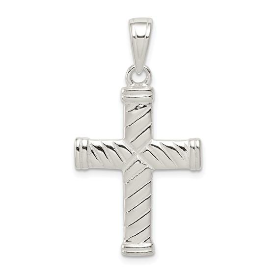 Sterling Silver 1in Reversible Ridged Cross