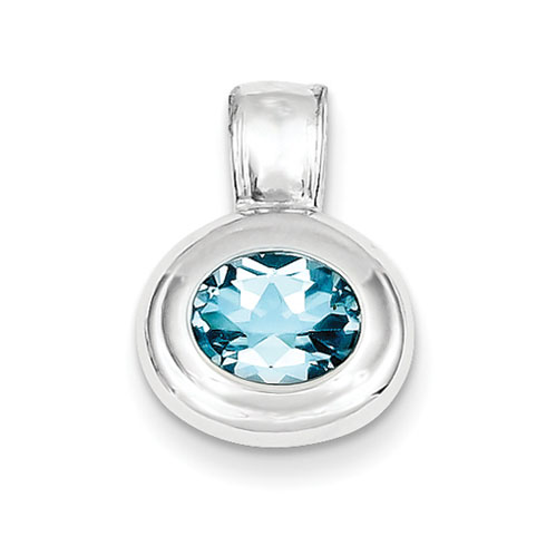 10x8mm Blue Topaz Pendant - Sterling Silver