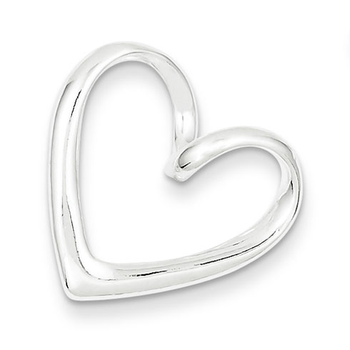 Sterling Silver Heart Slide 3/4in