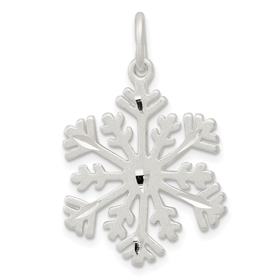 Sterling Silver 3/4in Diamond-cut Snowflake Charm