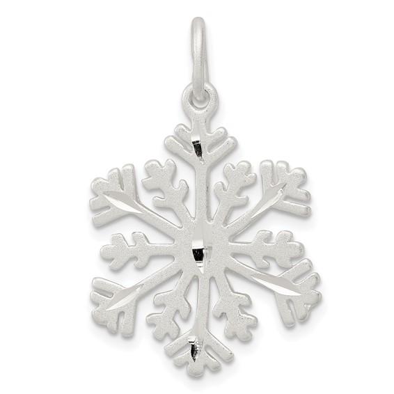 Sterling Silver 3/4in Diamond-cut Snowflake Charm