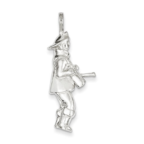 Sterling Silver 1 1/4in Standing Fireman Pendant