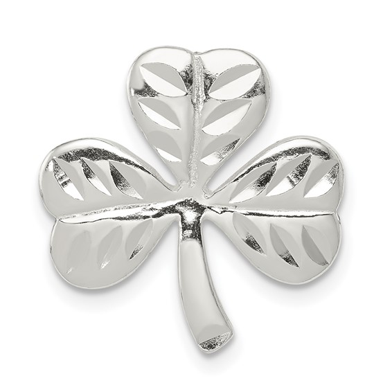 3/4in Shamrock Charm - Sterling Silver