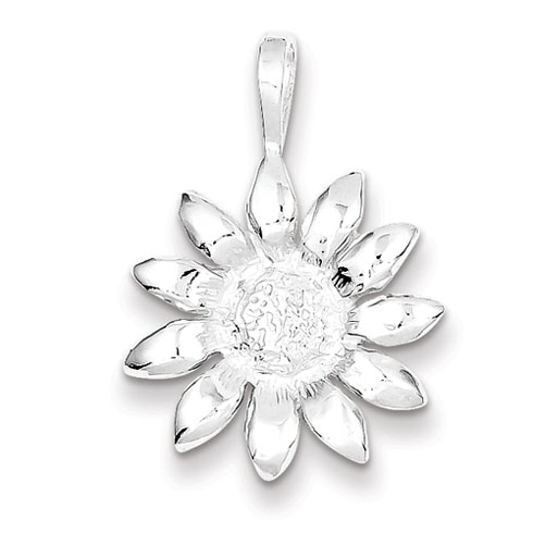 Sterling Silver Sunflower Pendant 3/4in