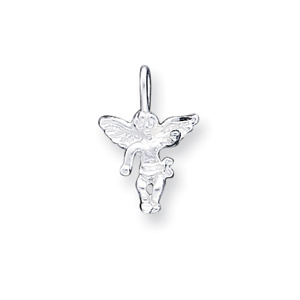 Sterling Silver Angel Charm with Satin Finish 1/2in
