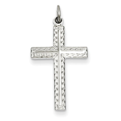 Sterling Silver 7/8in Cross Pendant with Decorative Finish
