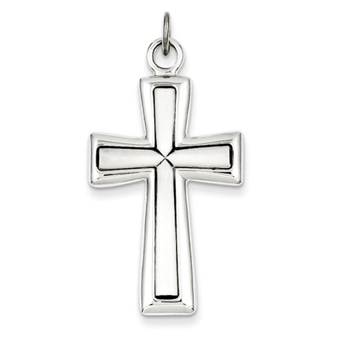 Sterling Silver 1 1/4in Latin Cross with Antiquing