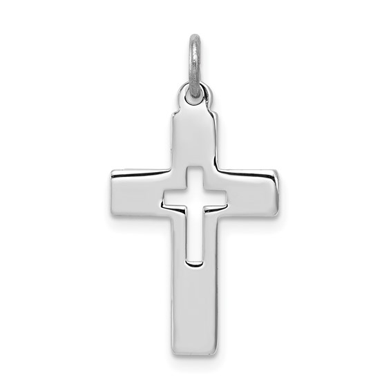 Sterling Silver Cut-out Cross in a Cross Pendant 3/4in