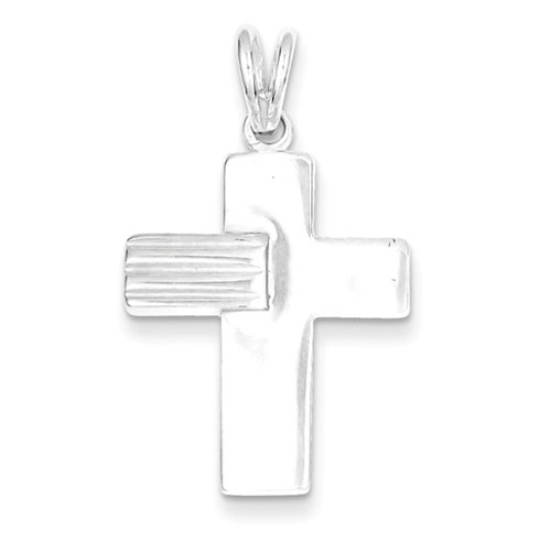Sterling Silver Cross Pendant with Grooved Arm 7/8in