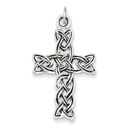 Sterling Silver 1 1/4in Antiqued Celtic Cross