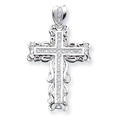3 1/4in CZ Cross - Sterling Silver