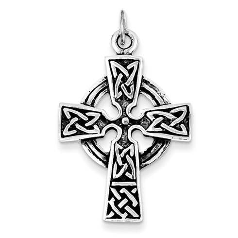 1 1/8in Antiqued Celtic Cross - Sterling Silver
