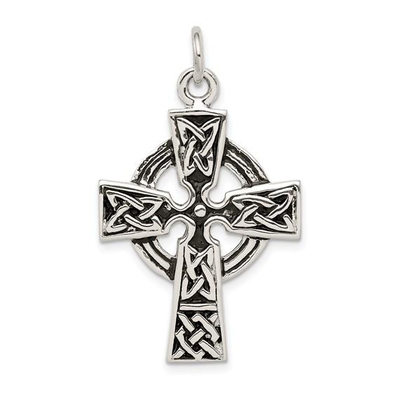 Sterling Silver 1 1/8in Antiqued Celtic Cross Pendant