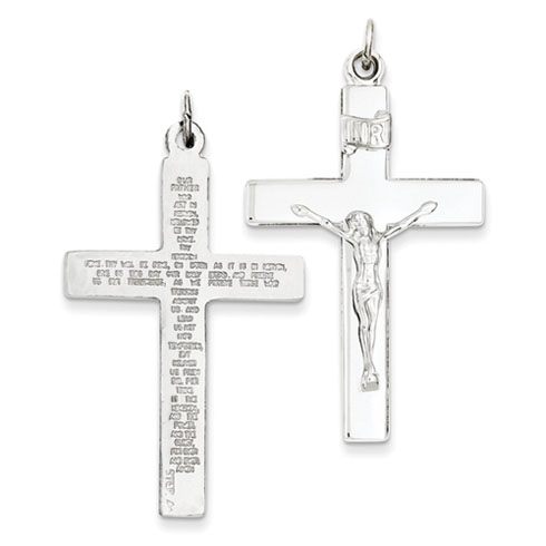 Sterling Silver 1 1/2in Lord's Prayer Reversible Crucifix