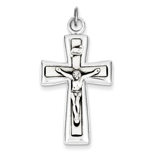 Sterling Silver Tapered INRI Crucifix Pendant 1 1/2in