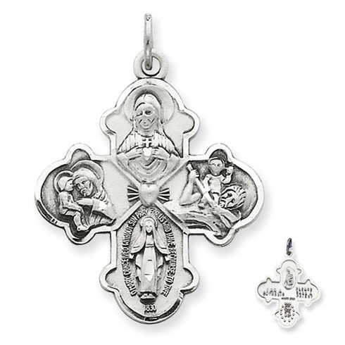 Sterling Silver Budded Four Way Medal 1 1/8in