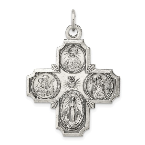 Sterling Silver 1 1/8in Four-Way Medal