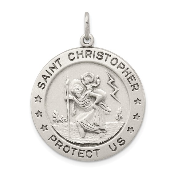 Sterling Silver 1in Round St. Christopher Medal