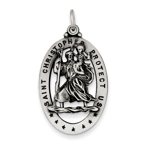 1 1/8in St. Christopher Medal Sterling Silver
