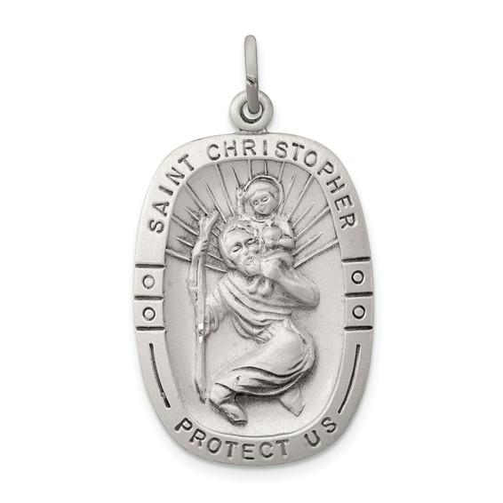 Sterling Silver 1in Antiqued Oblong St. Christopher Medal