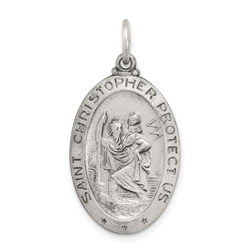 Sterling Silver St. Christopher Baseball Medal 7/8in